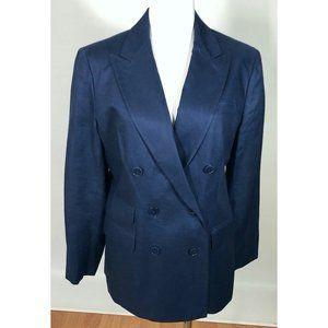 Ralph Lauren Blue Linen Blazer Petite 12